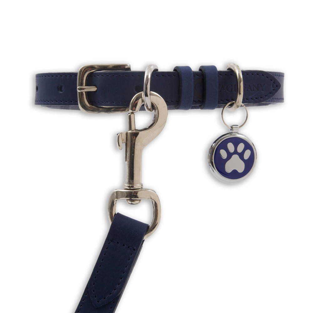 Kensington Classic Leather Dog Collars Blue by Tagiffany