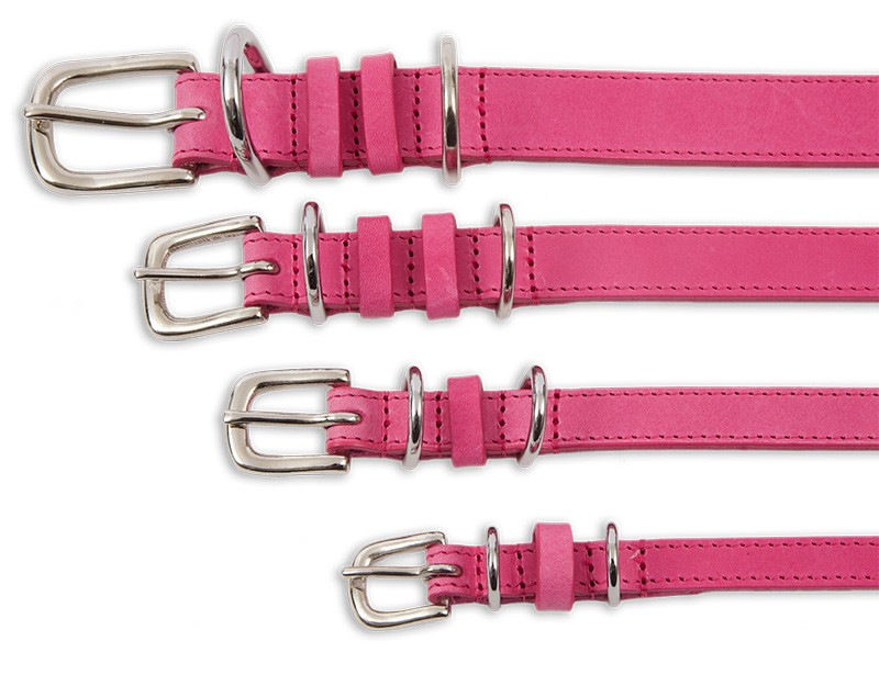 Kensington Contemporary Leather Dog Collars Pink by Tagiffany