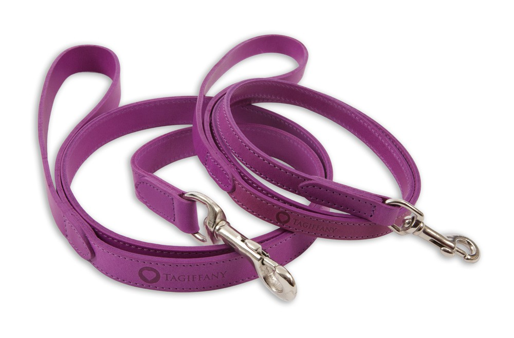 Kensington Contemporary Leather Dog Leads Purple by Tagiffany