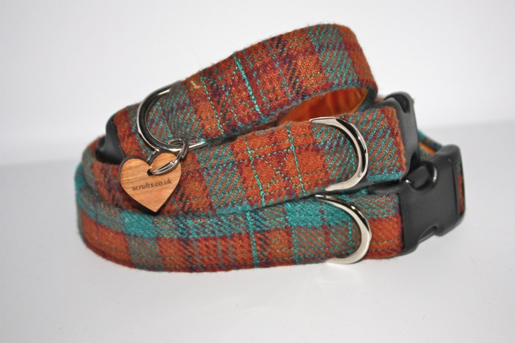 Rory Orange and Blue Tweed Dog Collars