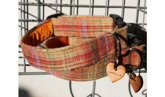 Cinnabar Orange Tweed Dog Collars