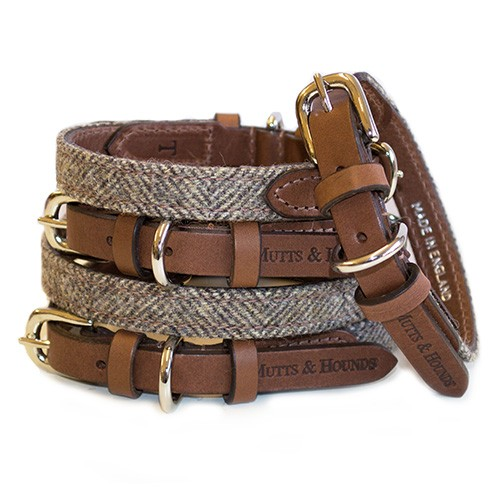 Herringbone tweed and leather dog collar