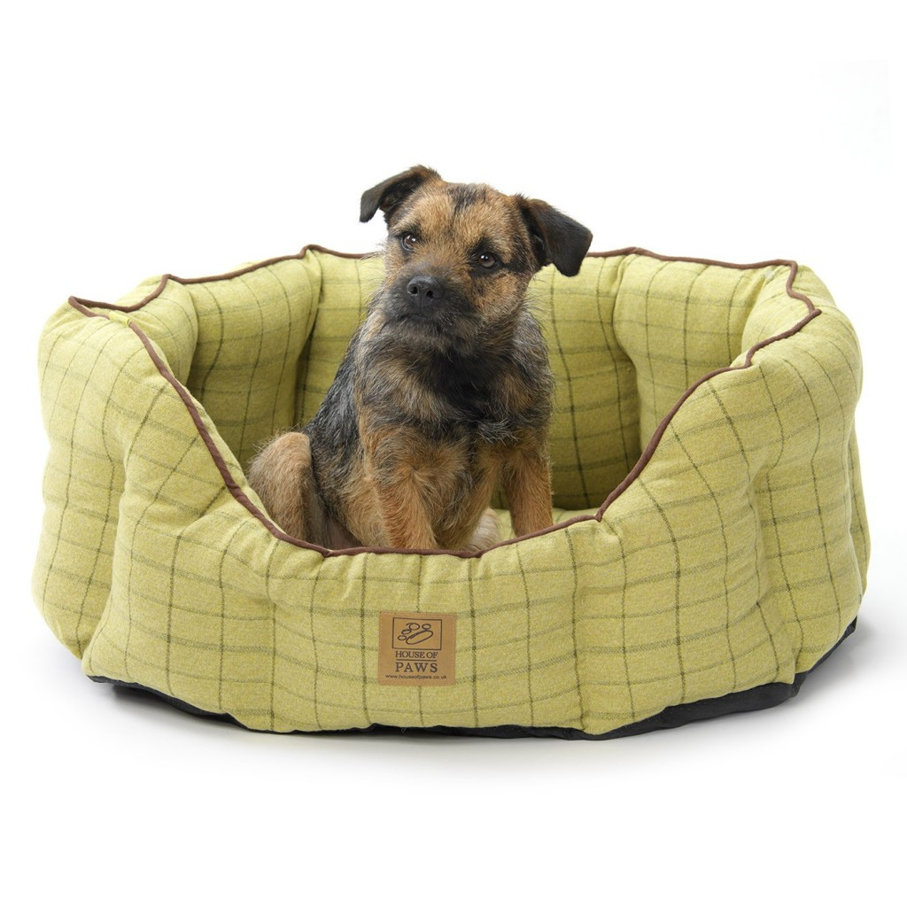 House Of Paws Green Tweed Dog Bed