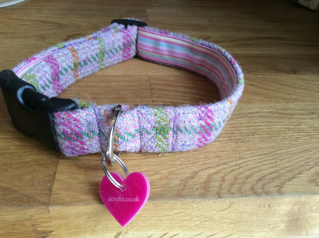 Heather Harris Pink Tweed Dog Collars