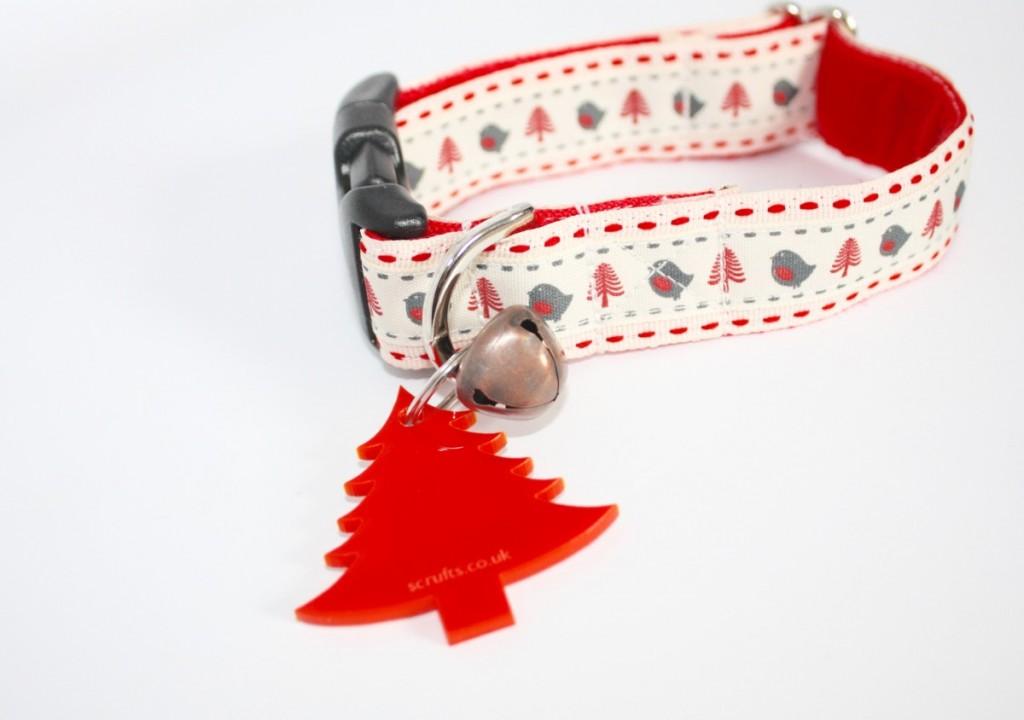 Robin Christmas dog collar handmade Uk Scrufts