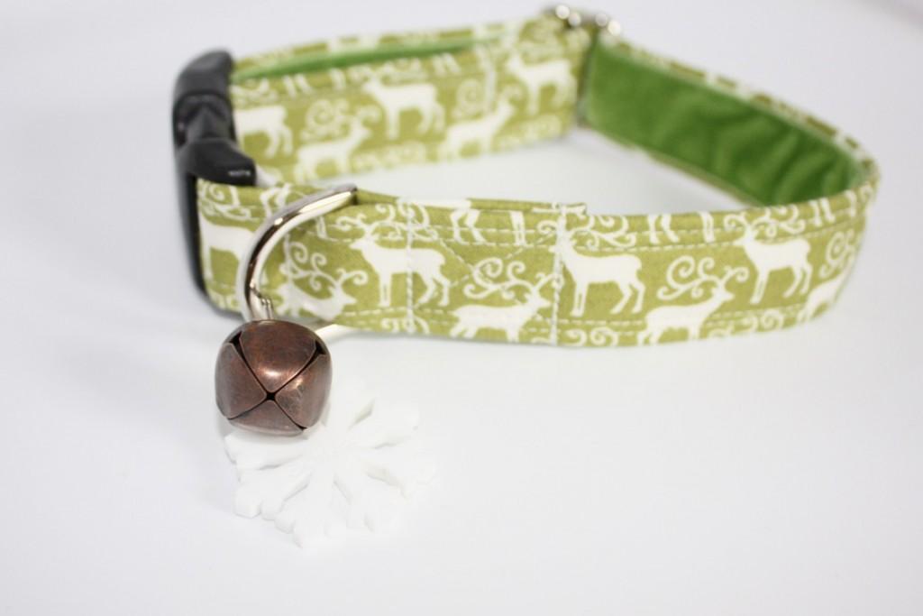 Green Rudolph Christmas Dog Collars Handmade UK Scrufts