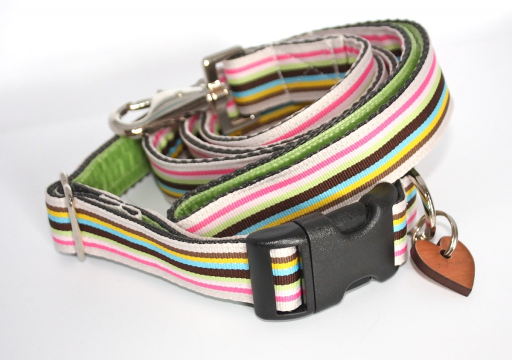 Neopolitan stripy dog collar and lead handmade by Scrufts