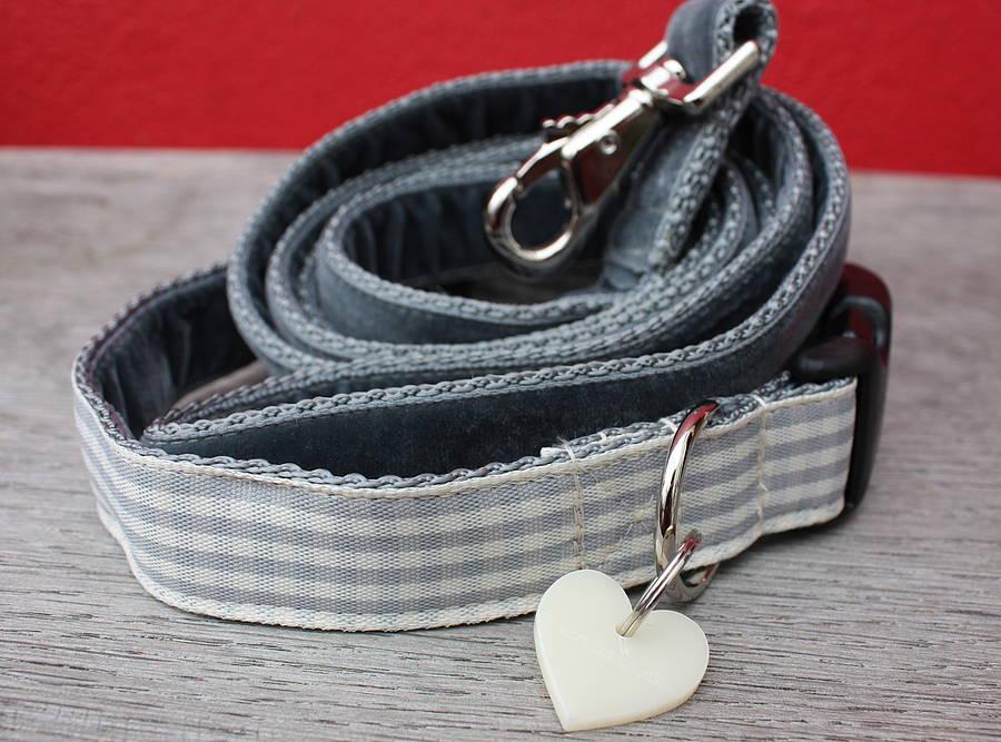 Nuage grey stripe dog collar and lead handmade UK Scrufts