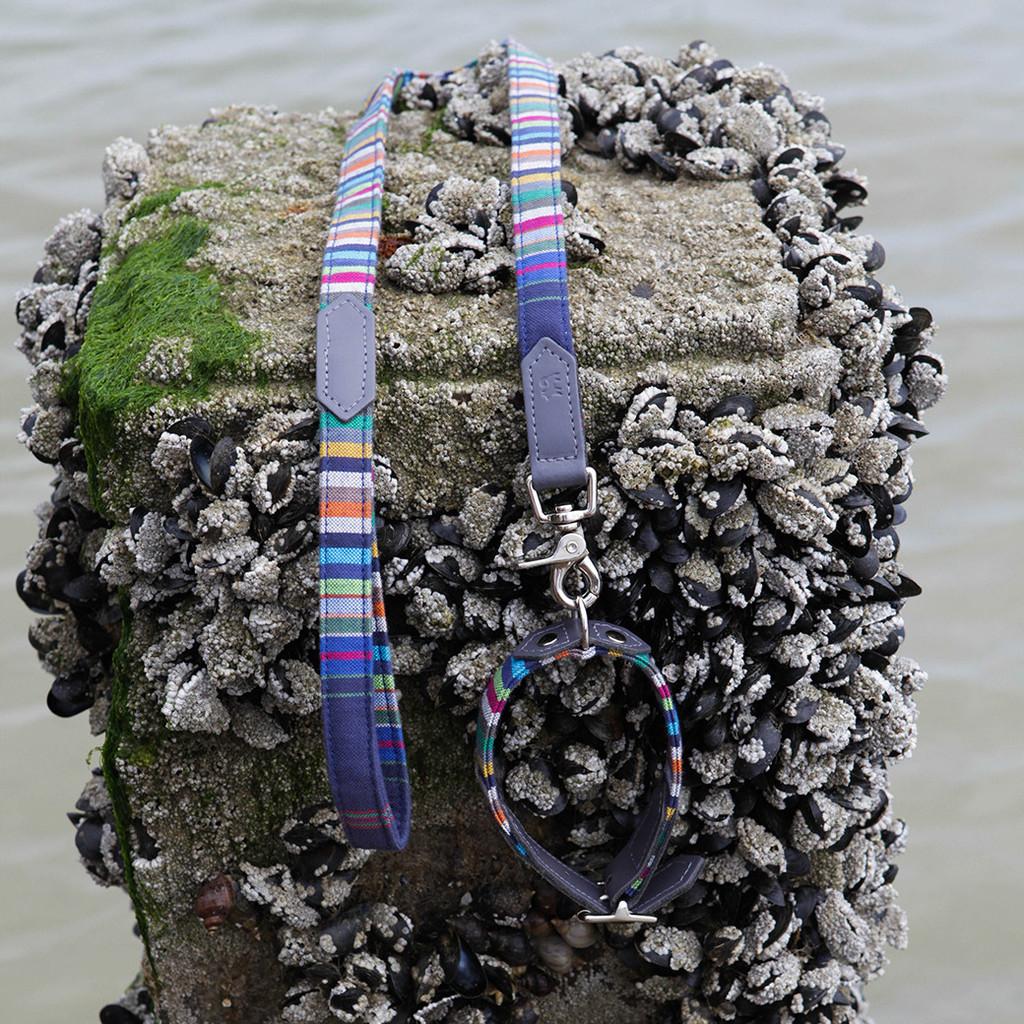 Hiro & Wolf Kikoy Marine Stripe Dog Collar and Lead