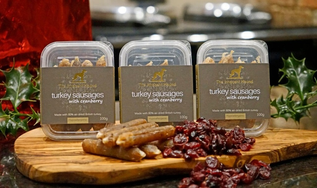 Christmas Dog Treats Turkey Sausages with Cranberry Innocent Hound
