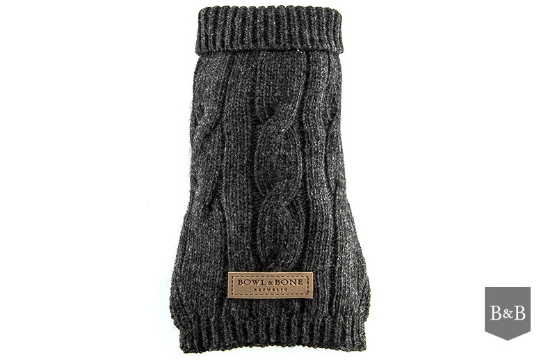 Cable Knit Grey Dog Jumper