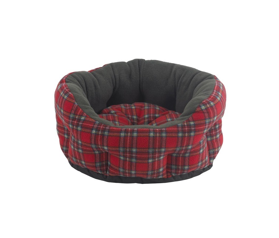 Snug and Cosy Verona Oval Red Tartan Snuggle Bed