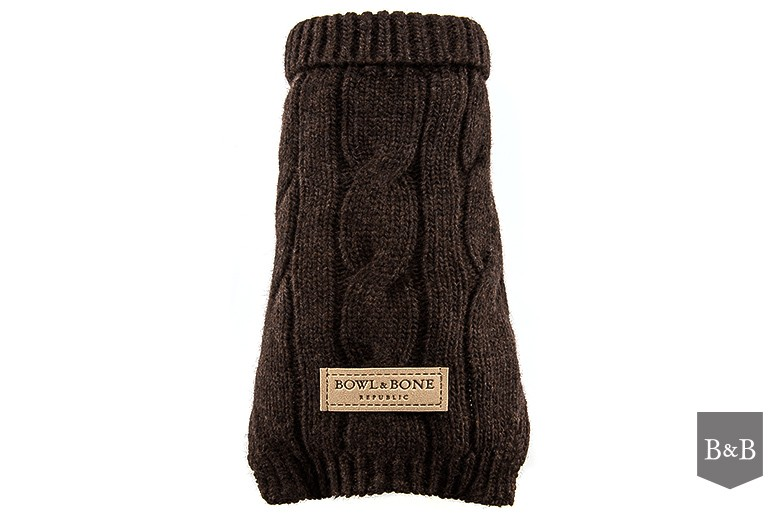 Bowl and Bone Luxury Dog Jumper Brown