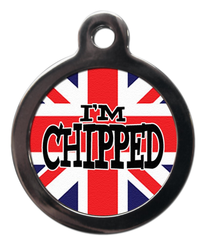 Union Jack i'm Chipped Dog ID Tags