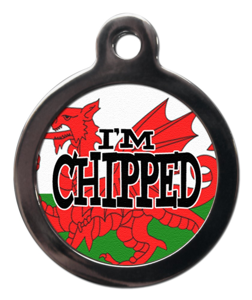 Welsh Flag I'm Chipped Dog Tags