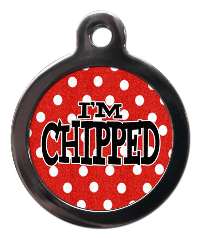 red polka dot i'm chipped dog id tag