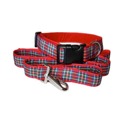Royal Stewart Tartan Dog Collar and Lead Set