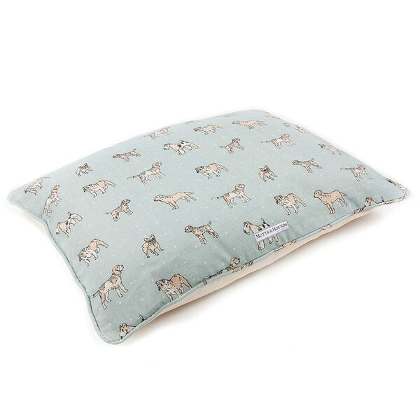 Mutts and Hounds Dog Beds Luxury Dogs Duck Egg Linen Pillow Beds