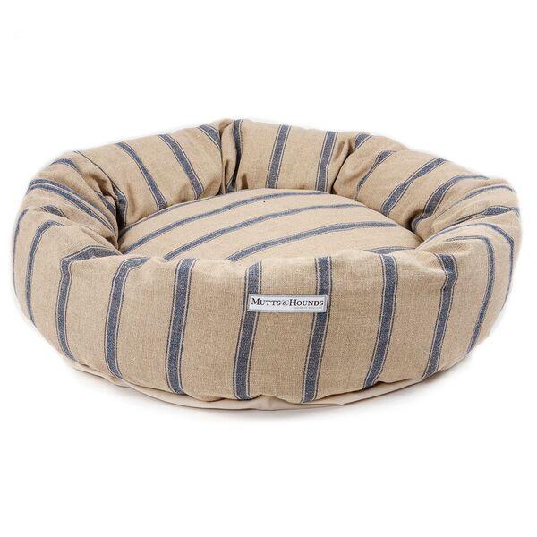 Blue Stripe Donut Dog Bed
