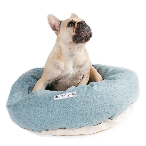 Teal Tweed donut dog bed