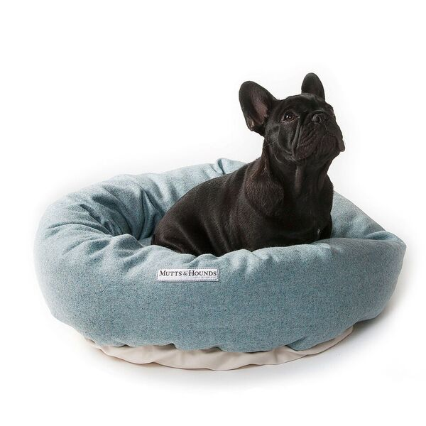 teal tweed donut dog bed M&H