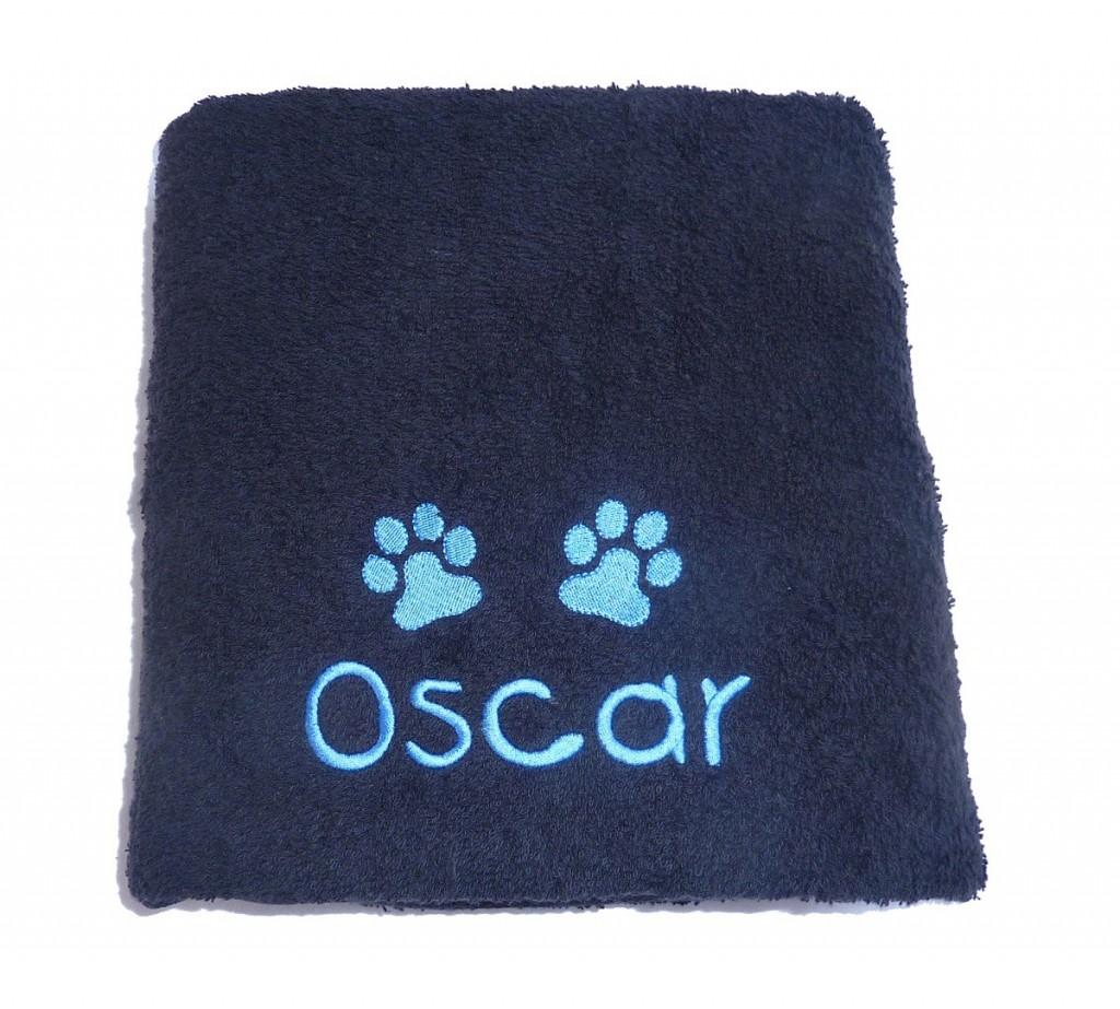 Personalised pet grooming towel black
