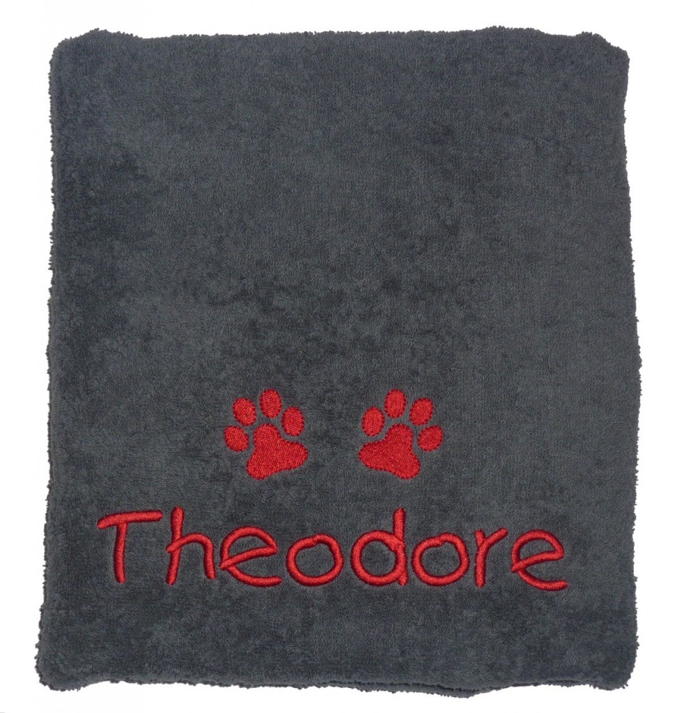 Personalised Dog Towel in Charcoal Grey by My Posh Paws