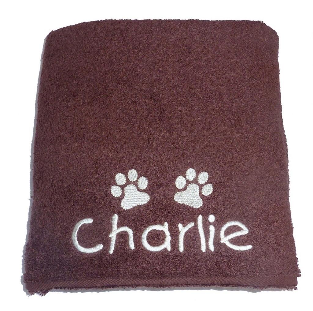 Personalised Pet towel brown my posh paws