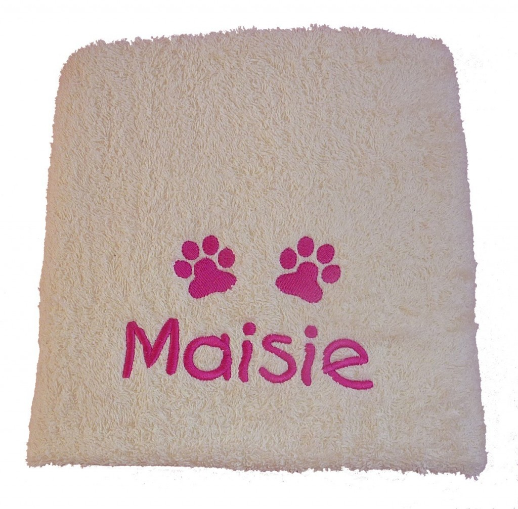 Cream Embroidered Personalised Dog Towels by My Posh Paws