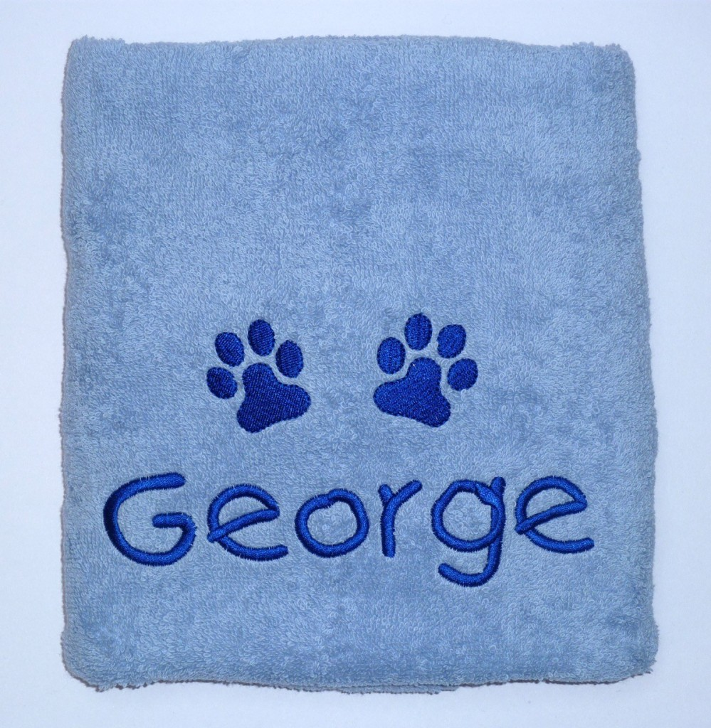 Embroidered Personalised Puppy Towel Blue
