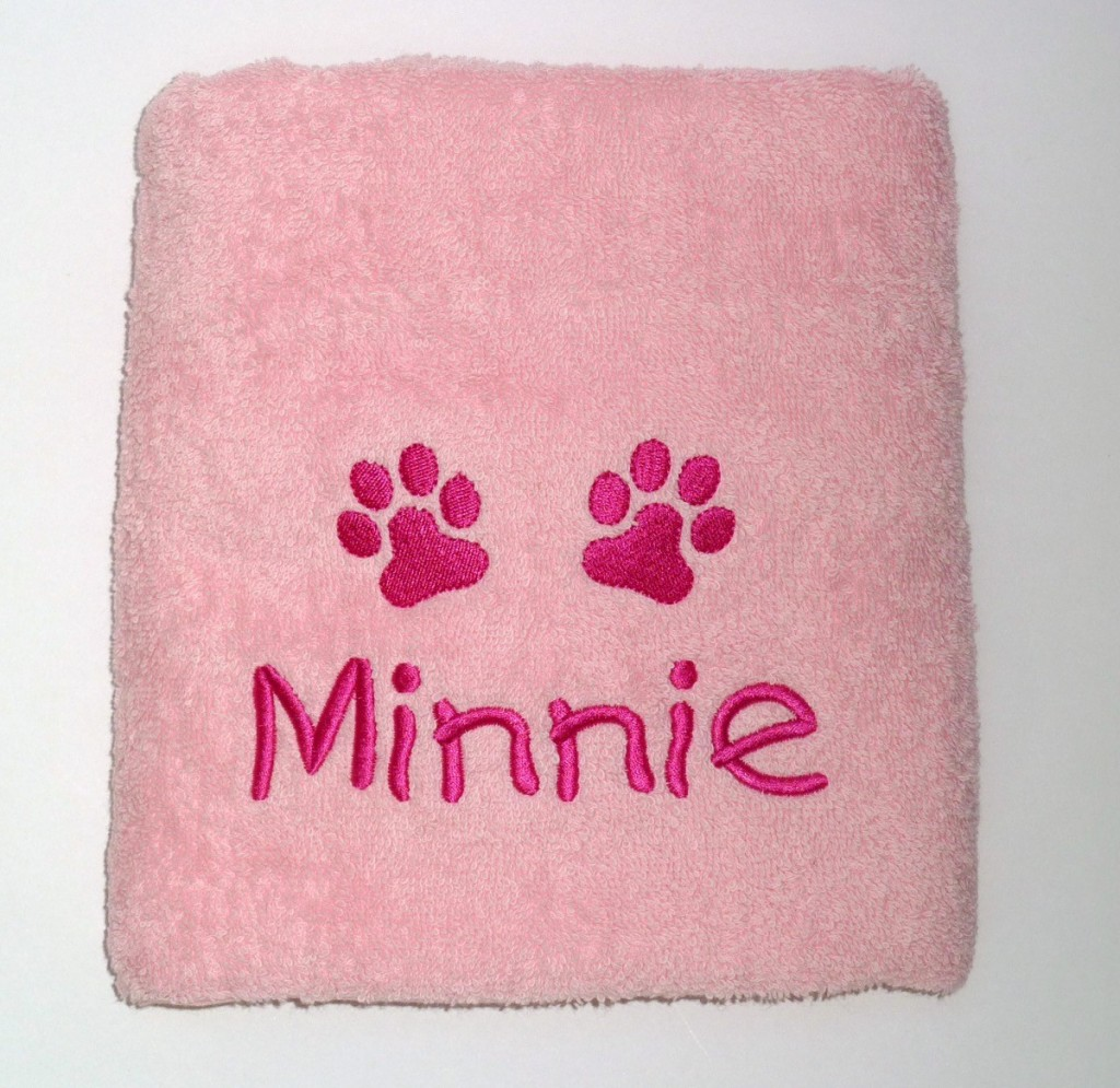 Personalised Puppy Towel Pink by My Posh Paws