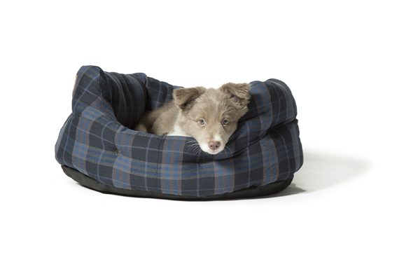 Grey and Navy Lumberjack dog bed by Danish Design