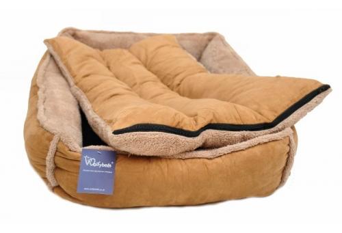 Personalised Caramel Fleece Cradle Dog Bed