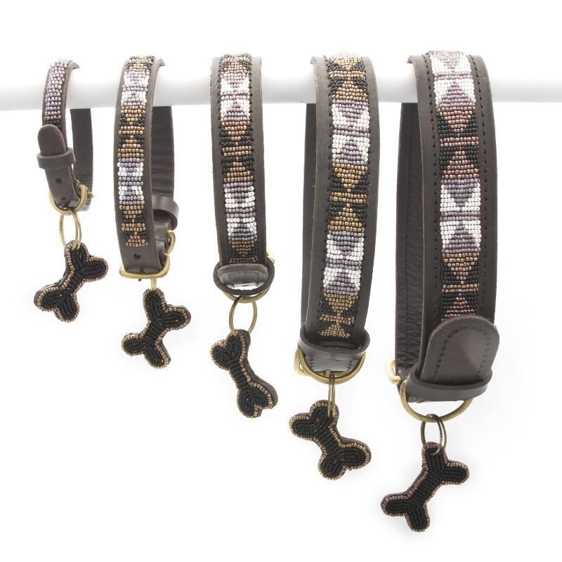 Bajuni Beaded Leather Dog Collar