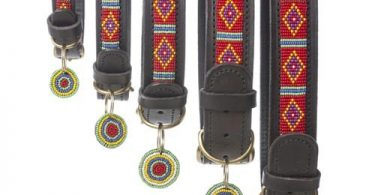 Mombasa Red Beaded Leather Dog Collar
