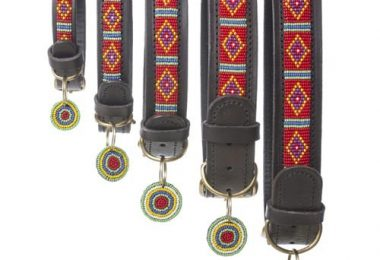 Mombasa Red Beaded Leather Dog Collar