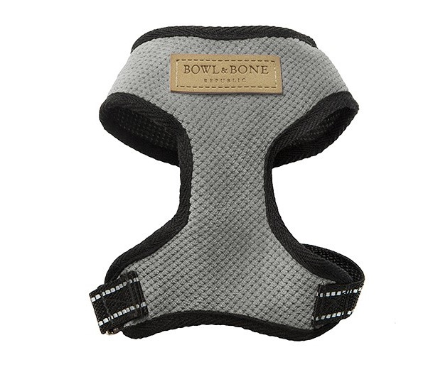 grey padded dog harness
