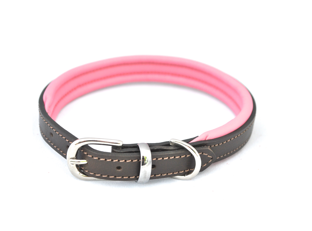 pink padded leather dog collar