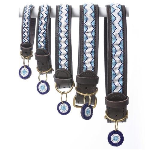 beaded blue leather dog collar for vizslas