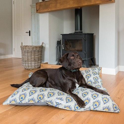 peacock print luxury dog bed