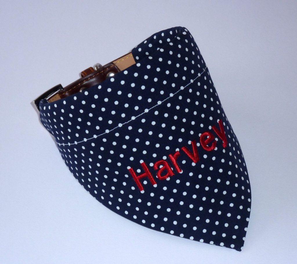 blue personalised dog bandana
