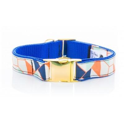 blue geo dog collar