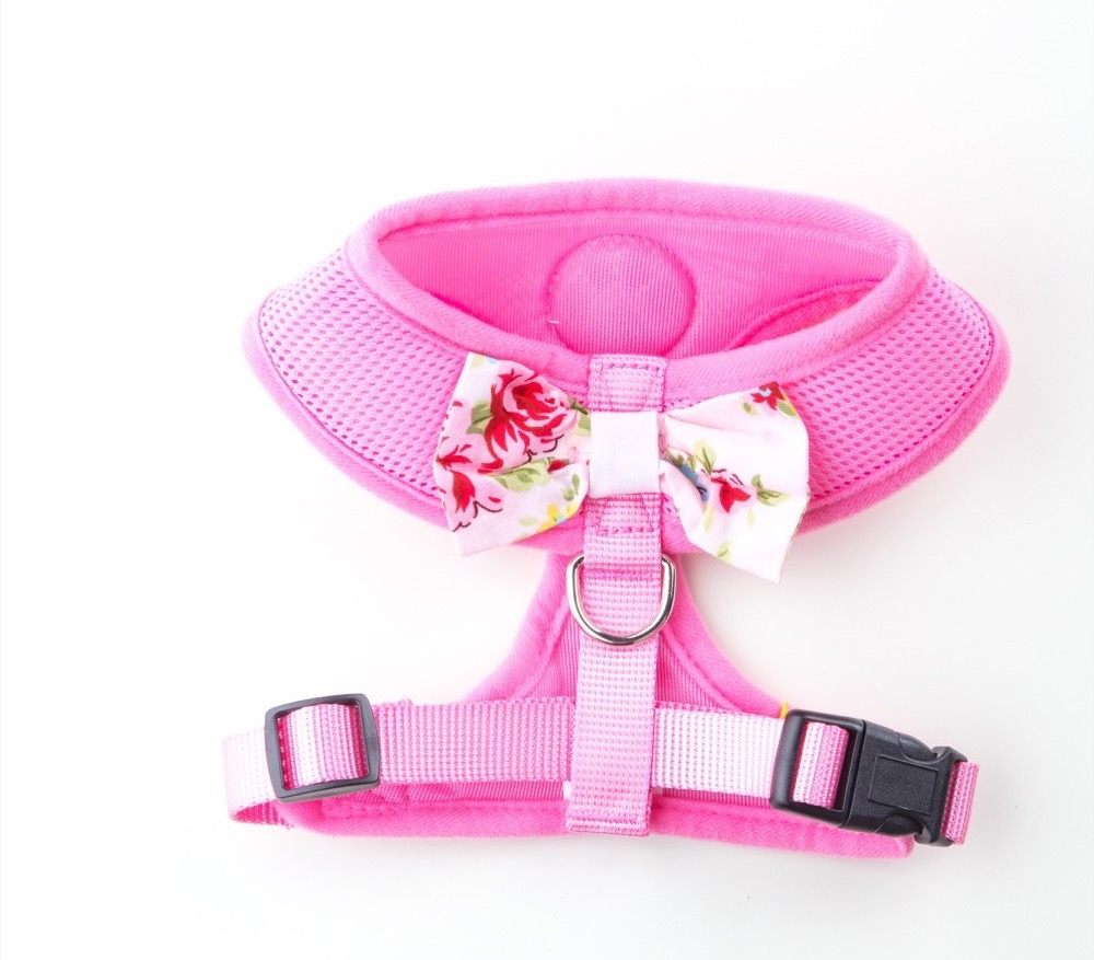 pink vintage bow dog harness