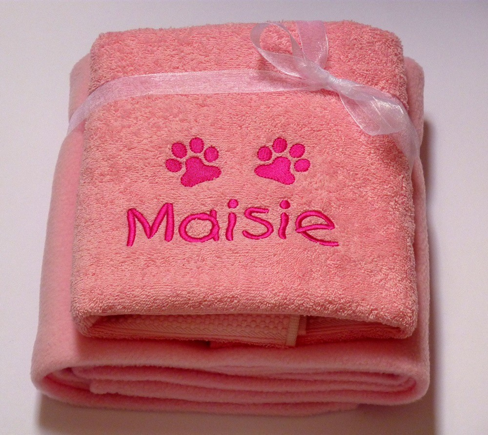 pink personalised dog towel and blanket gift set