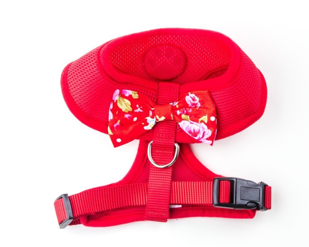 red bow dog harness