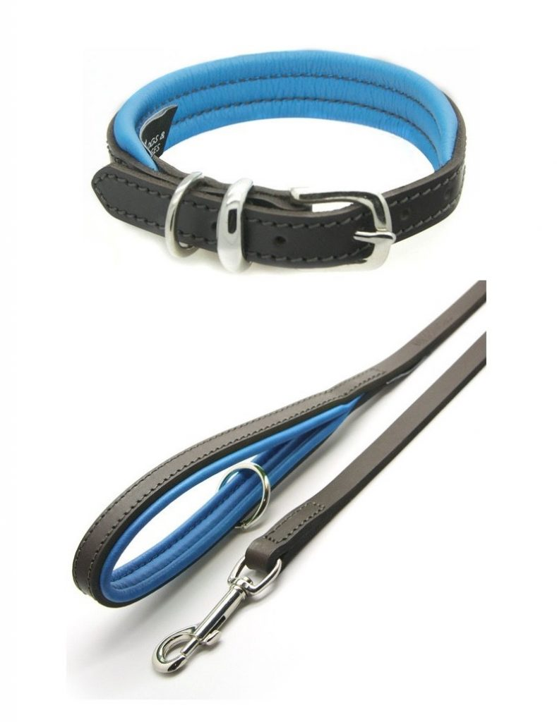 blue leather dog collar and lead uk