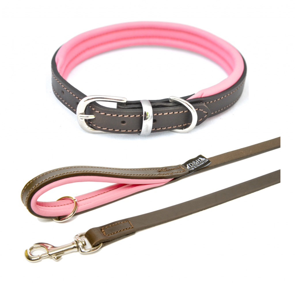 pink leather dog collar and lead