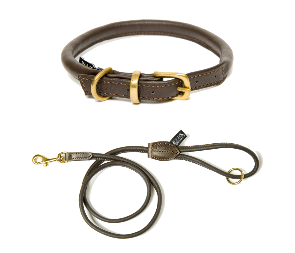 traditional brown leather dog collar and lead set