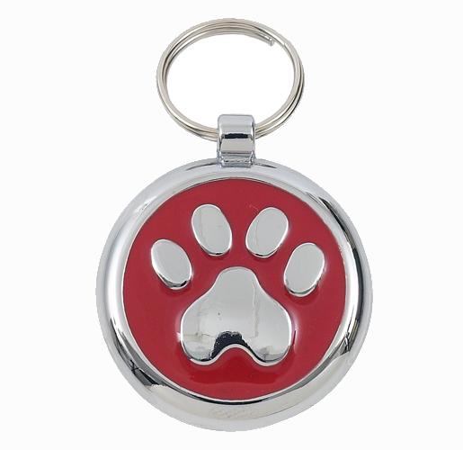 Red Paw Print Dog ID Tags