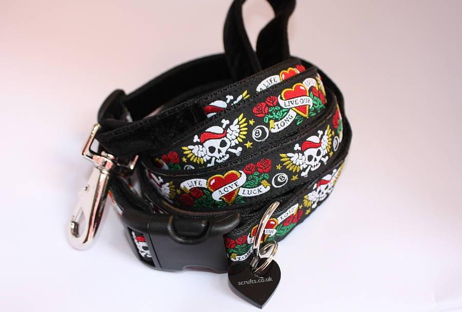 skulls dog collar and lead uk